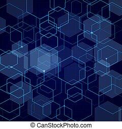 青, 抽象的, 六角形, 格子バックグラウンド