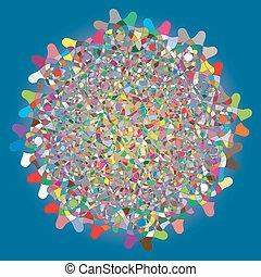 青, 抽象的, 円, 形, カラフルである