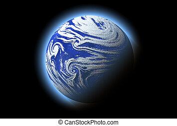 青, 抽象的, 惑星, 詳細, 宇宙, 雰囲気