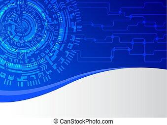 青, 抽象的, 技術, ネットワーク, 背景