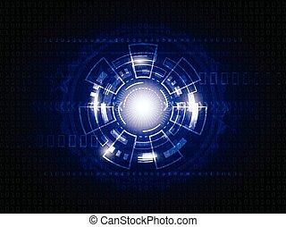 青, 抽象的, 技術, 背景, デジタル