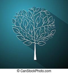 青, 抽象的, 木, イラスト, ベクトル, 背景