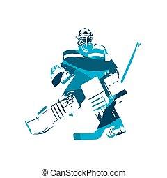 青, 抽象的, 氷, ベクトル, イラスト, ゴールキーパー, ホッケー