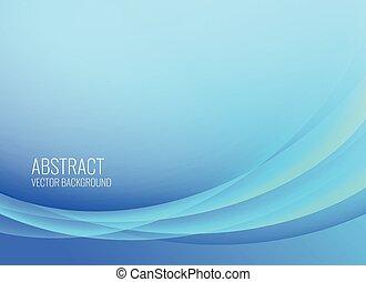 青, 抽象的, 波状, デザイン, 背景