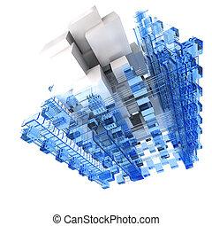 青, 抽象的, 白, 構造