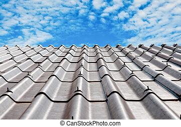 青, 抽象的, 空, 屋根, 背景, タイル