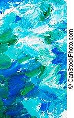 青, 抽象的, 緑の背景