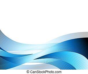 青, 抽象的, 背景, イラスト, 波