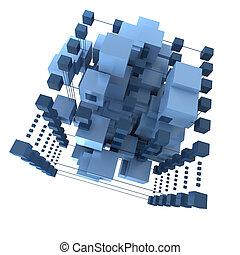 青, 抽象的, 背景, 立方