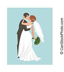 青, 抽象的, 隔離された, 抱き合う, 手, バックグラウンド。, ベクトル, イラスト, 結婚式, 引かれる, 偶力がキスする
