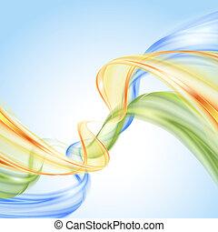 青, 抽象的, 黄色, 波, 緑の背景