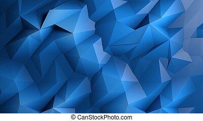 青, 抽象的, poly, 暗い, 低い, 背景