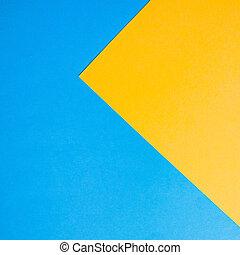 青, 抽象的, yellow., ペーパー, 背景, design.