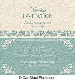 青, 招待, バロック式, ベージュ, 結婚式