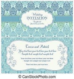 青, 招待, バロック式, 緑, 結婚式