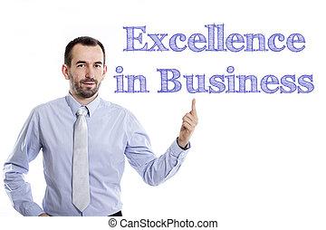 青, 指すこと, ビジネス, -, 若い, の上, 素晴らしさ, 小さい, ビジネスマン, ひげ, ワイシャツ
