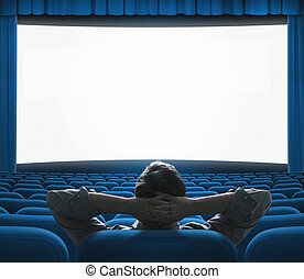 青, 排他的, 芸術, 映画館, 大きい, concept., screen., vip, 家, 映画,...