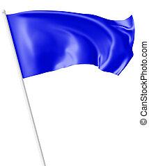 青, 揺れている旗, 風, flagpole