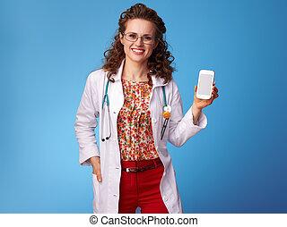 青, 携帯電話, 女, 提示, pediatrist, 空白 スクリーン, 幸せ