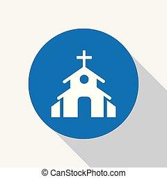 青, 教会, キリスト教徒, アイコン, 円, チャペル, 白