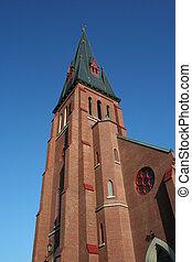 青, 教会, 空, に対して, steeple, 高い