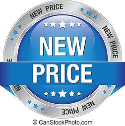 青, 新しい, 価格, 銀, ボタン