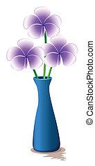 青, 新鮮な花, つぼ