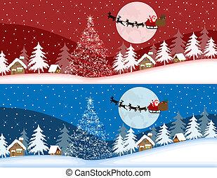 青, 旗, クリスマス, 赤