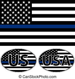 青, 旗, ストライプ, アメリカ