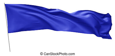 青, 旗, 長い間, flagpole.
