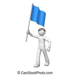 青, 旗, 3d, 人