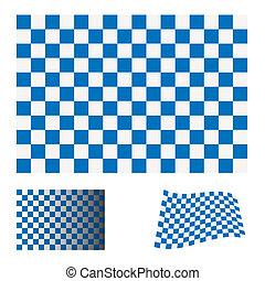 青, 旗, checkered