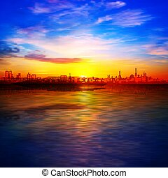 青, 日の出, シルエット, 都市, 春, 金, 抽象的, 背景, 空