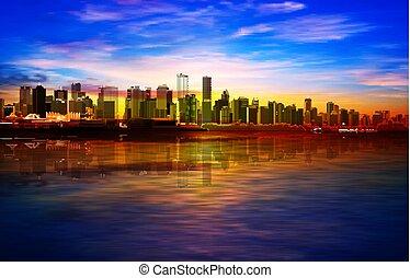 青, 日の出, バンクーバー, 春, 金, 抽象的, 背景, パノラマ, 空
