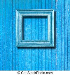 青, 映像, 壁, 型, フレーム, 木製である