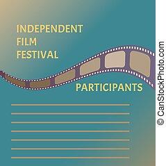 青, 映画館, 祝祭, ポスター, シンボル, 空, テープ, 背景, フィルム
