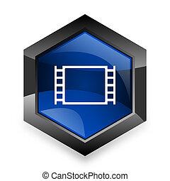 青, 映画, 現代, 3d, デザイン, 背景, 白, 六角形, アイコン
