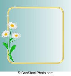 青, 春の花, 背景, デイジー