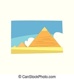 青, 景色。, 古代, 雲, 葉書, カラフルである, 平ら, ポスター, 旅行, エジプト人, 空, egypt., バックグラウンド。, ベクトル, 広告, ピラミッド, 白, 砂漠, 砂