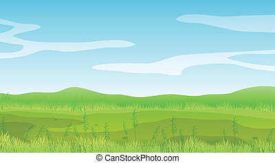 青, 晴れわたった空, フィールド, 下に, 空