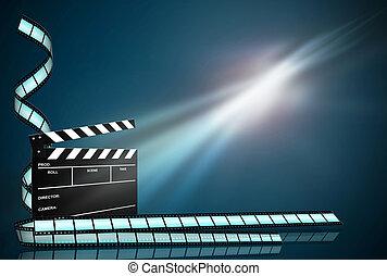青, 暗い, フィルム, 蟻, 板, 背景, ストリップ, 拍手