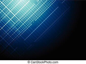 青, 暗い, ベクトル, 技術, 背景, 光沢がある
