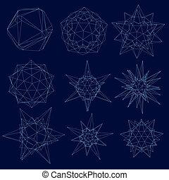 青, 暗い, 別, セット, wireframe, ライン, イラスト, 形, バックグラウンド。, ベクトル, 幾何学的