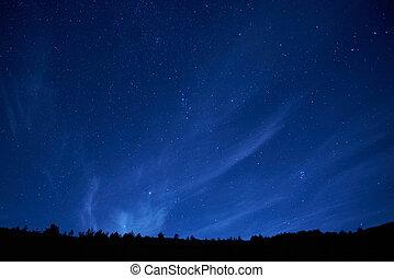 青, 暗い, 夜空, stars.