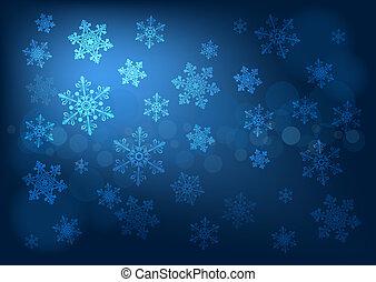 青, 暗い, 抽象的, 雪片, 背景