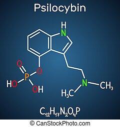 青, 暗い, molecule., alkaloid, prodrug., それ, 化学物質, 背景,...