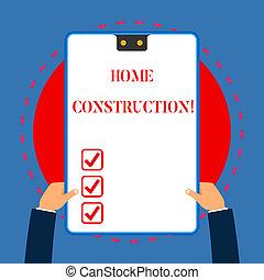 青, 暮らし, 概念, 建設すること, プロセス, テキスト, フレーム, 手掛かり, 穴, 2, 執筆, construction., 意味, クリップボード, hands., 手書き, 家, 白, 持つ, 調停, 長方形