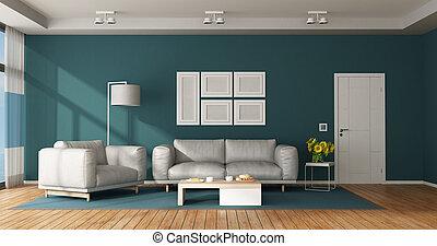 青, 暮らし, 白, 現代部屋