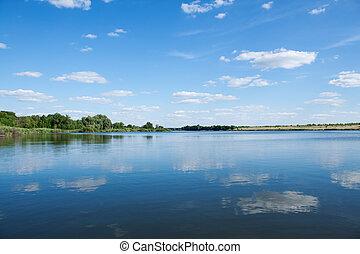 青, 曇り, 湖, 空, 下に