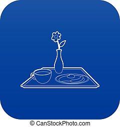 青, 朝食, ベクトル, ベッド, アイコン